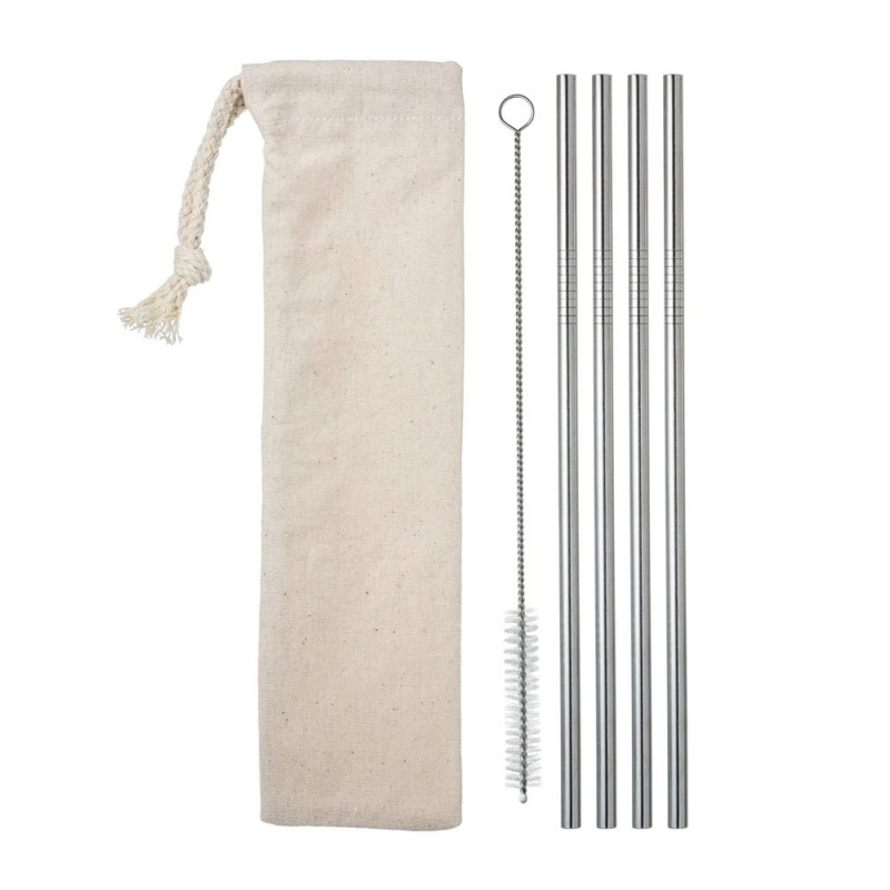 Set of Four Stainless Steel Drinking Straws