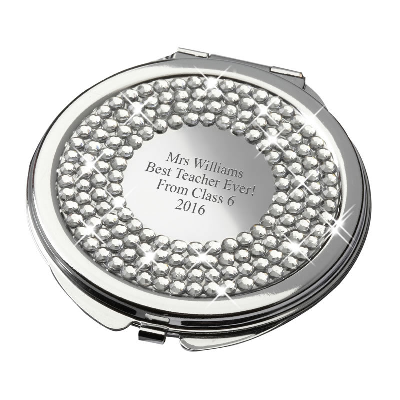 Personalised Round Compact Mirror with Diamante Lid