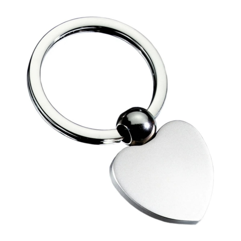 Heart Shape Silver Colour Keyring with Ball