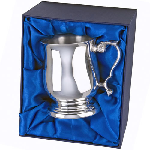 Engraved Silver Plated 1PT Georgian Tankard with Case