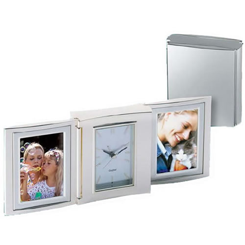 Engraved Silver Double Photo Frames & Clock