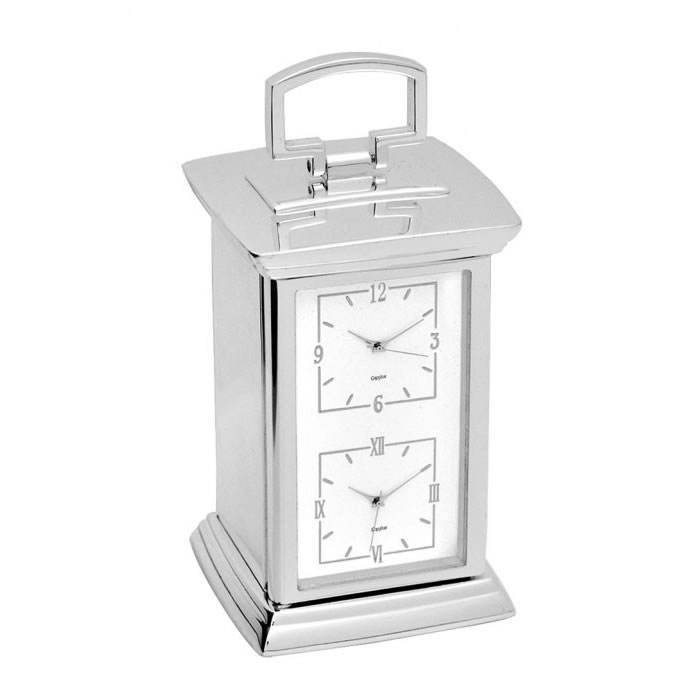 Engraved Silver Plated Dual Time Carriage Clock