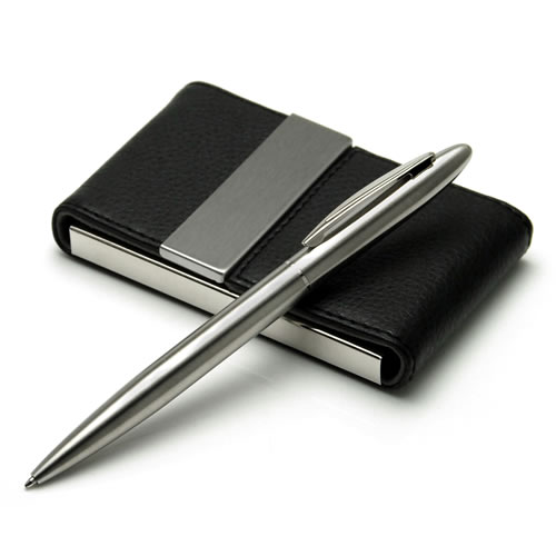 Engraved Business Card Case and Pen Gift Set