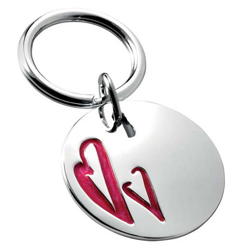Engraved Silver Circular Keyring with Two Hearts