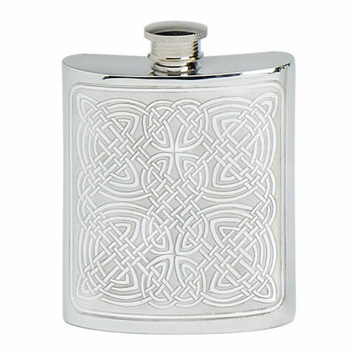 Engraved 6oz Pewter Flask with Celtic Design