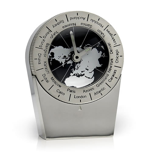 Engraved Silver Plated Automatic World Time Clock