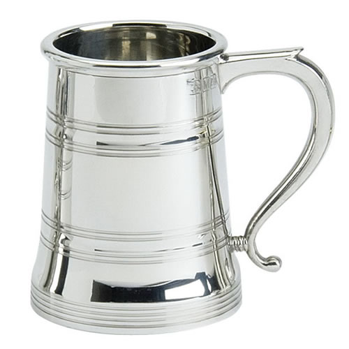 Engraved Quality Cast Pewter 2 Line Pint Tankard