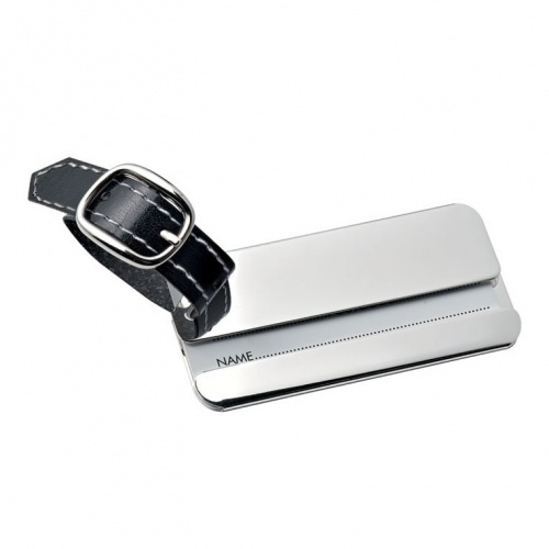 Chrome Plated Luggage Tag with Black Strap