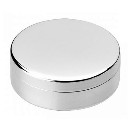 Engraved Silver Plated Round Jewel Case