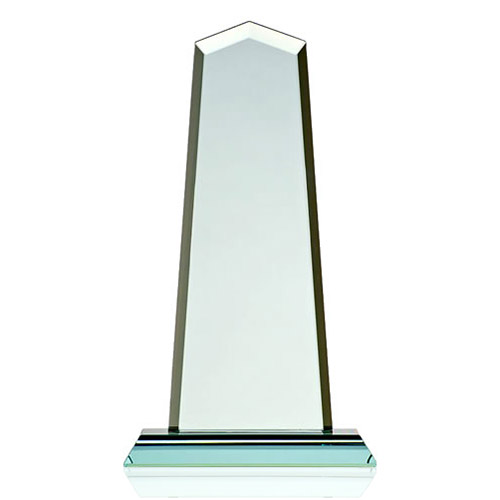 Engraved 10in Jade Glass Obelisk Award