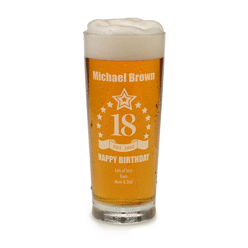 Engraved 18th Birthday Pint Glass Tankard