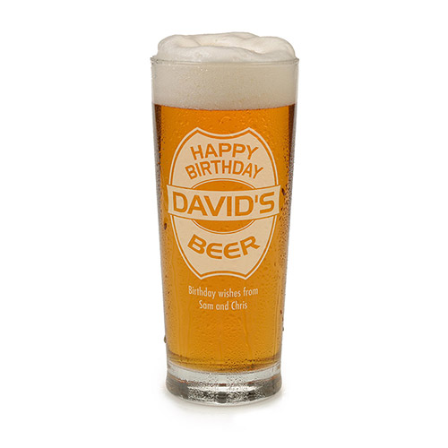 Personalised Happy Birthday Beer Glass