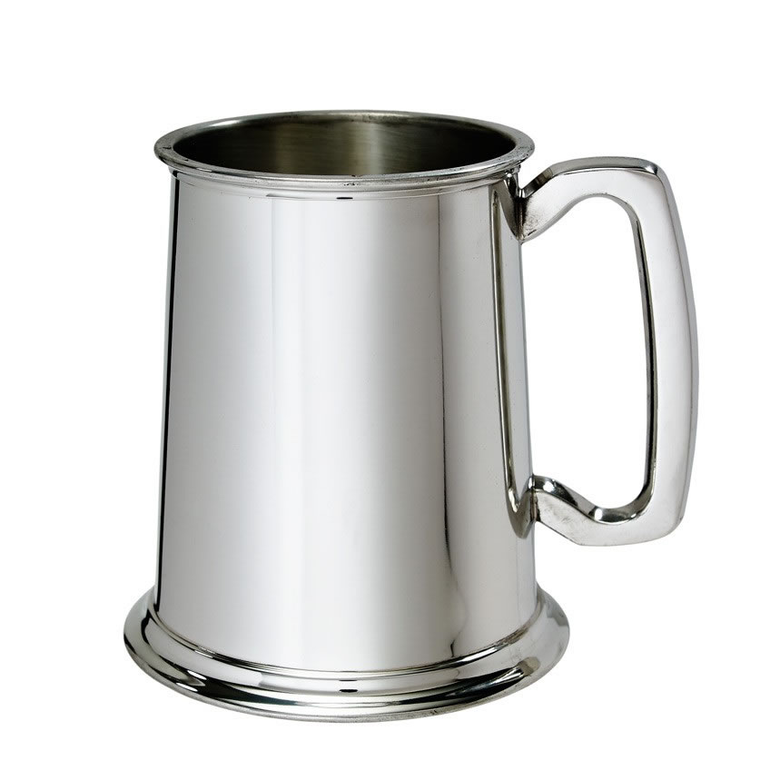 Engraved Pewter Pint Tankard