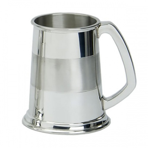 Engraved Satin Band Pewter Tankard in Presentation Box