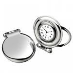 Engraved Silver Plated Folding Desk Clock