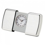 Engraved Silver Plated Sliding Case Alarm Clock