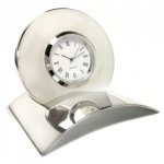 Engraved Silver Plated Desk Clock on Curved Base