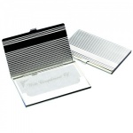 Engraved Silver Plated Ribbed Business Card Holder
