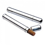 Engraved Silver Plated Bullet Shape Cigar Holder