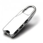 Engraved Silver Plated Combination Padlock Key Ring