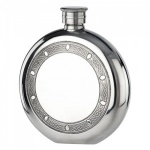 Engraved Celtic Circle 5oz Round Pewter Flask