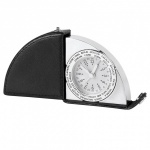 Engraved Leather & Silver Folding Travel Clock