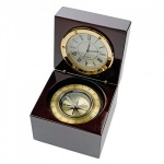 Clock and Compass in Mahogany Box