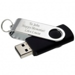 Engraved Chrome Plated 16GB USB Memory Stick