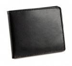 Engraved Black Leather Folding Wallet